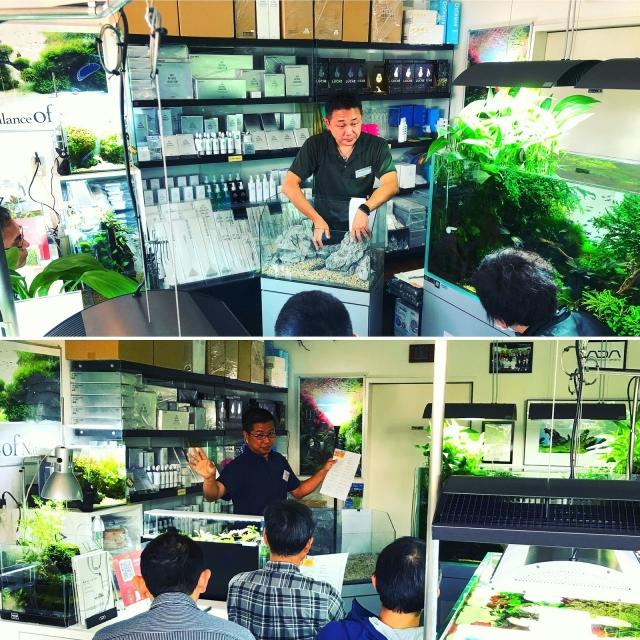 築地氏による熱心な構図講習と店長のNA基本講習 店内は熱気に溢れていました。
